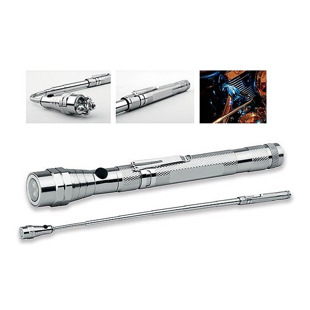 NOBEND - kovová teleskopická 3 LED svítilna s magnetem a klipem - šedá