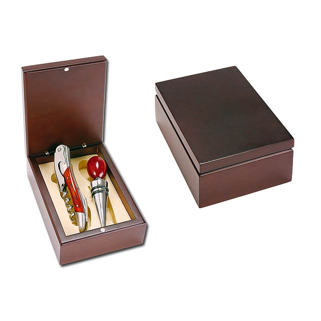 2dílná sada na víno v dřevěné dárkové krabičce - stříbrná - foto