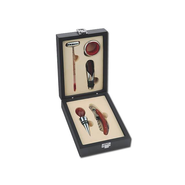 5dílná sada na víno v dřevěné dárkové krabičce - smíšené - foto
