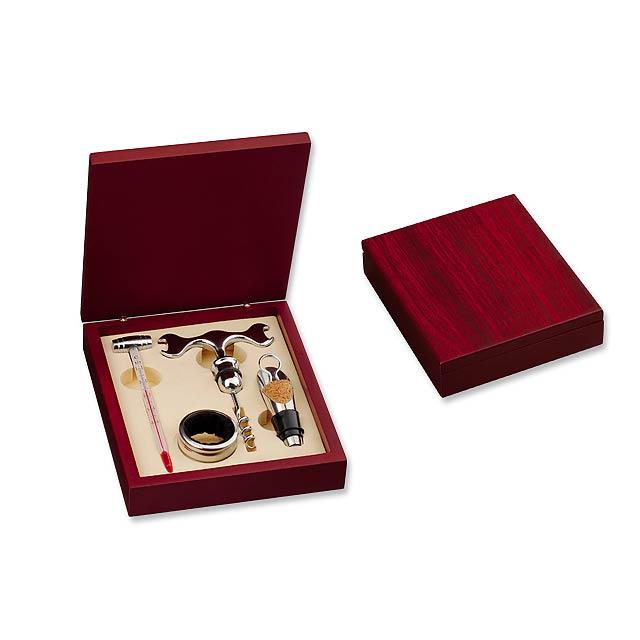 MATTHEW II - 4dílná sada na víno v dřevěné dárkové krabičce - stříbrná