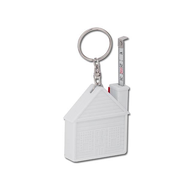 HOUSE - plastový přívěsek - svinovací metr, 1 m - bílá