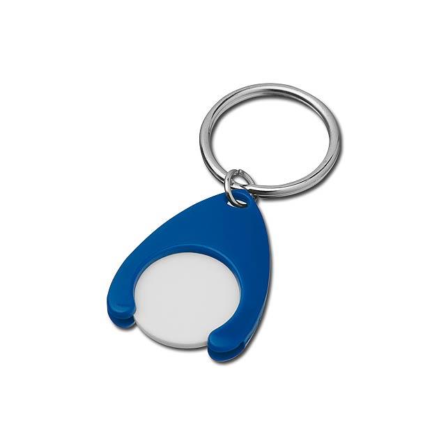 PORTHOS PLASTIC - plastový přívěsek - žeton vel. 0,5 €/ 10 Kč - modrá