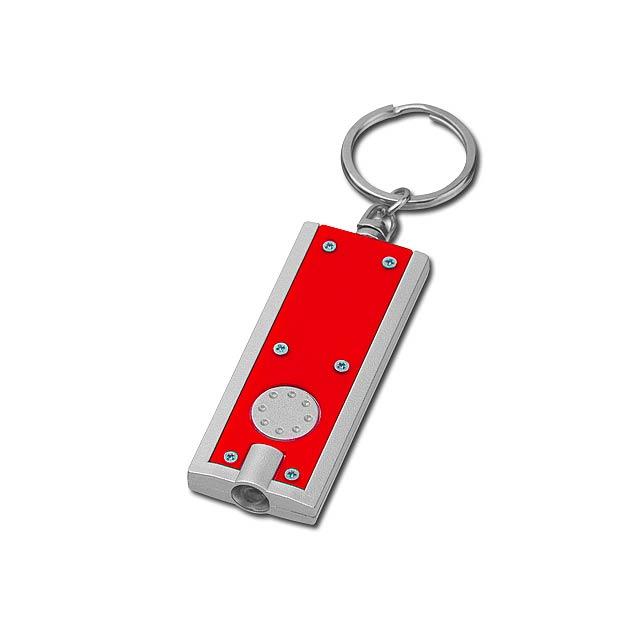 HUDSON - plastový přívěsek - LED svítilna - červená
