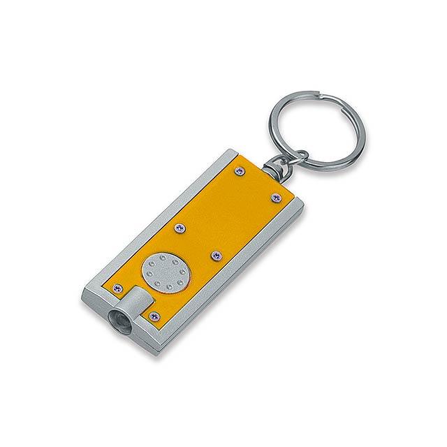HUDSON - plastový přívěsek - LED svítilna - žlutá