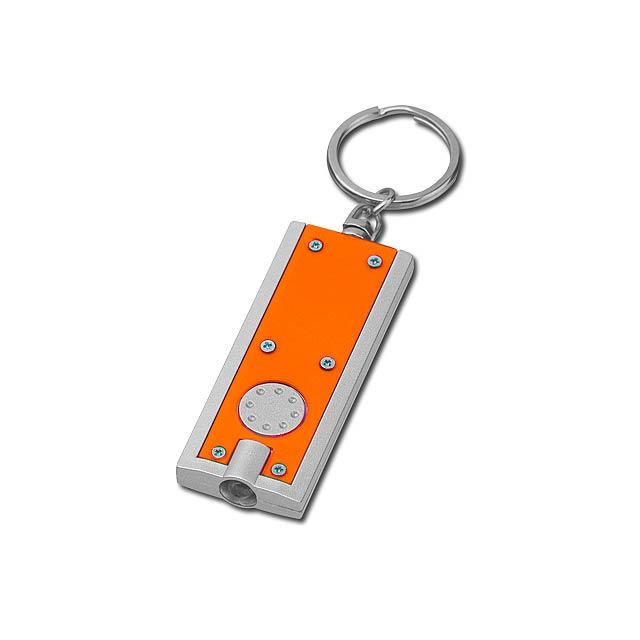Plastový přívěsek na klíče s LED svítilnou. Čočková lithiová baterie (1x) je součástí. - oranžová - foto