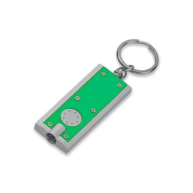 HUDSON - plastový přívěsek - LED svítilna - zelená