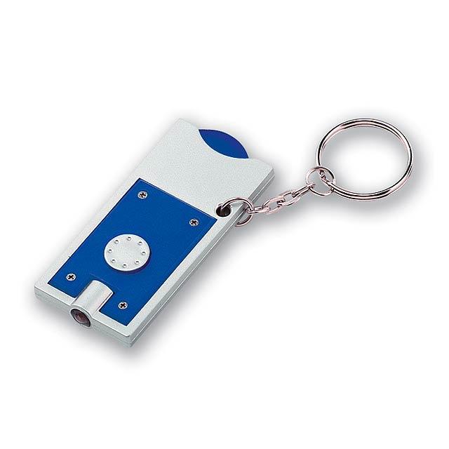 MATE - plastový přívěsek - LED svítilna a žeton - modrá