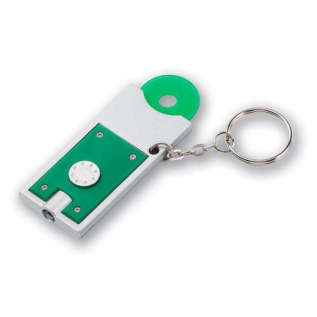 MATE - plastový přívěsek - LED svítilna a žeton - zelená