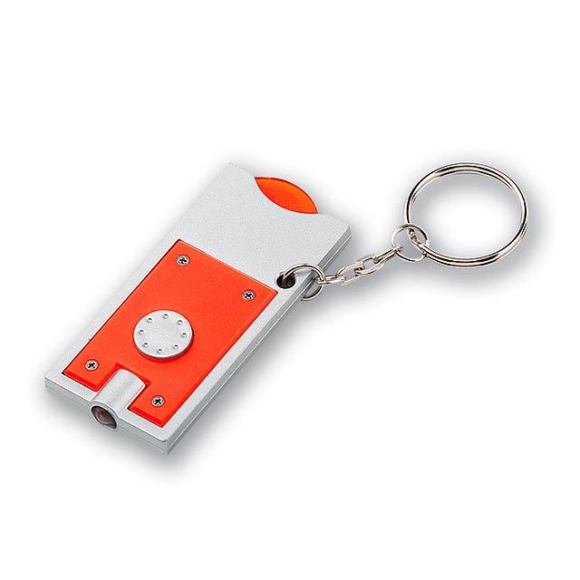 MATE plastový přívěsek - LED svítilna a žeton vel. 0,50 €/10 Kč, Oranžová - oranžová