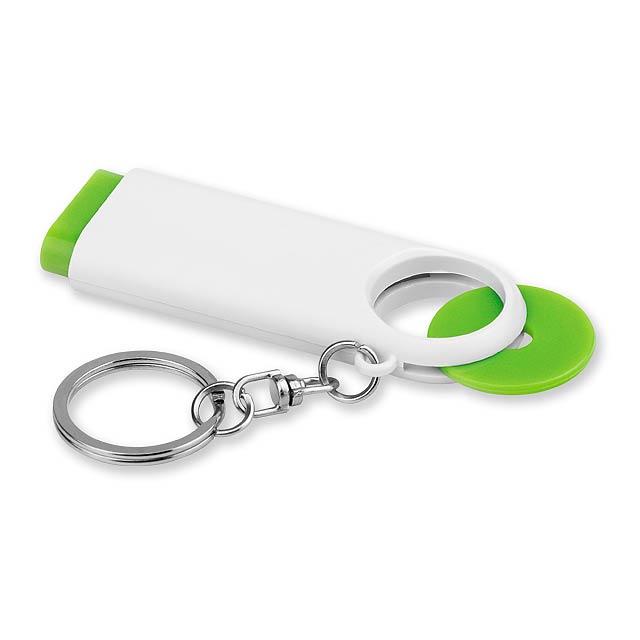 plastový přívěsek - 2 LED svítilna a žeton vel. 0,50 €/10 Kč - zelená - foto