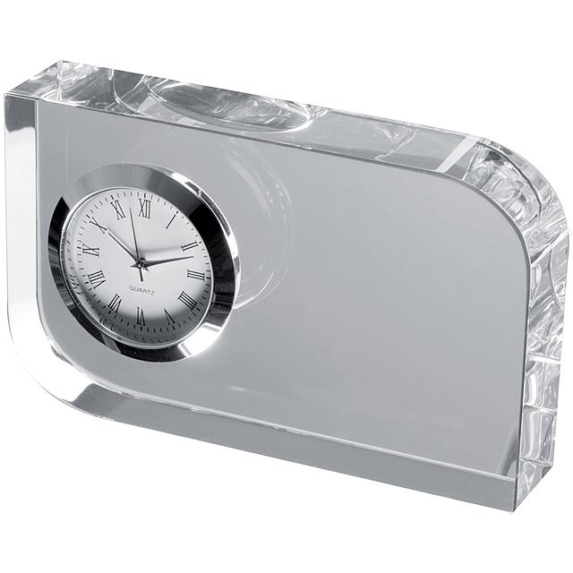 Skleněná dekorace s hodinkami - transparentní