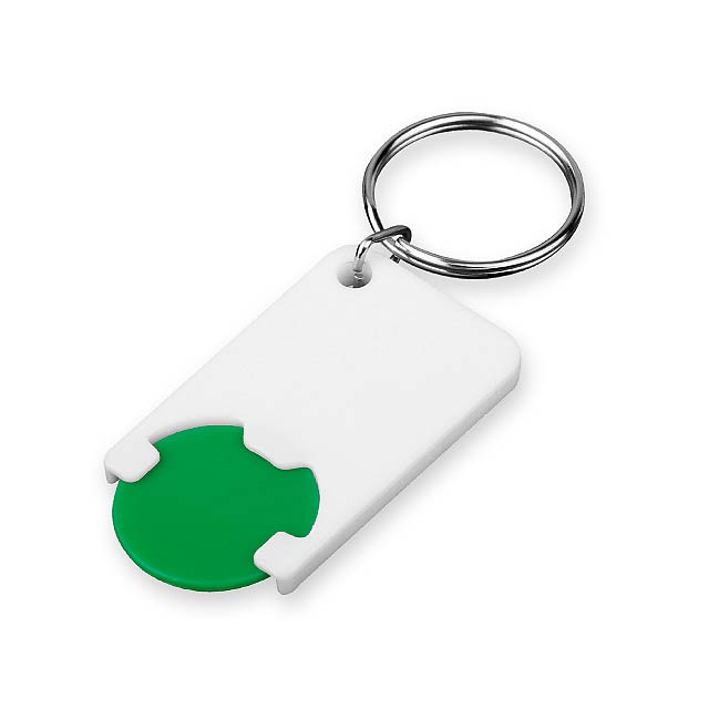 CHIPSY - Plastic key ring with token, size 1 EUR. - green