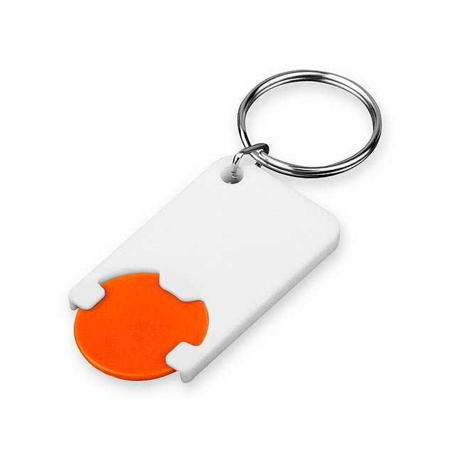 CHIPSY - Plastic key ring with token, size 1 EUR. - orange