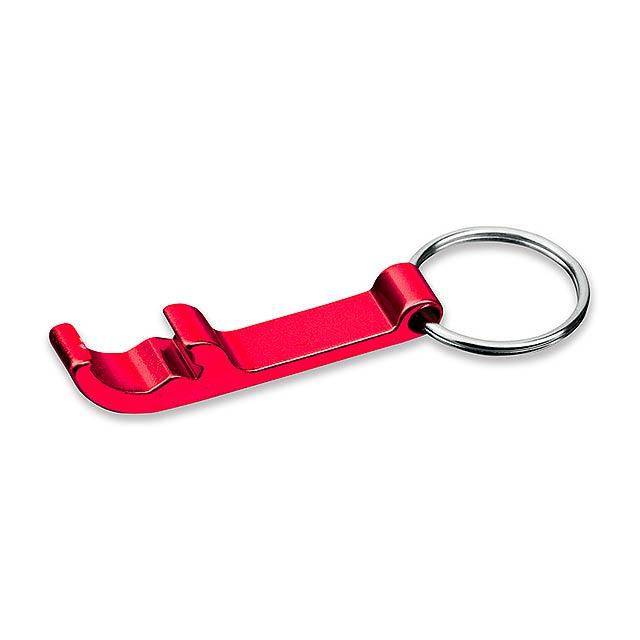ALU - kovový přívěsek - otvírák - červená