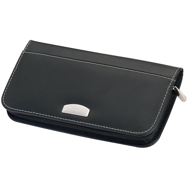 Cestovní peněženka z kůže - černá