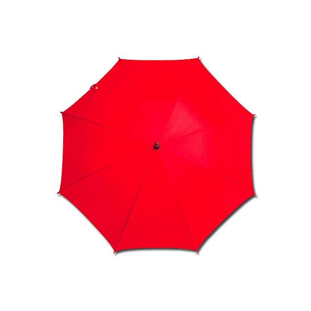 AUTOMATIC - polyesterový vystřelovací deštník, 8 panelů - červená