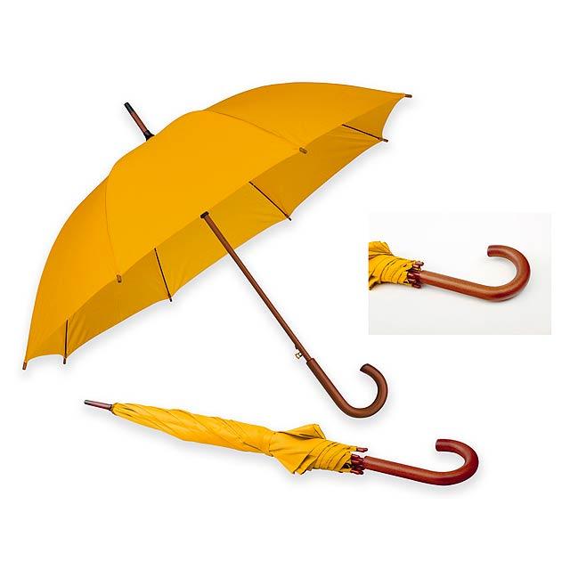 AUTOMATIC - Polyesterový deštník s automatickým otvíráním a dřevěnou rukojetí, 8 panelů.       - žlutá