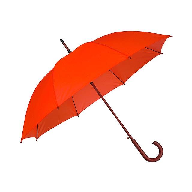 AUTOMATIC polyesterový vystřelovací deštník, 8 panelů, Oranžová - oranžová