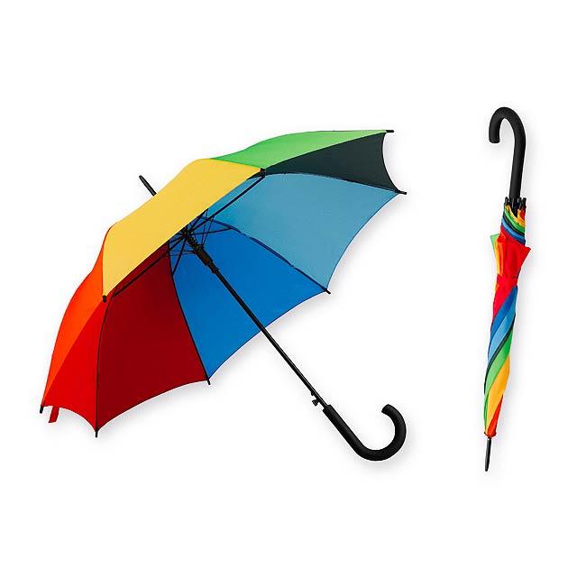 DONALD polyesterový vystřelovací deštník, 8 panelů, Vícebarevná - multicolor