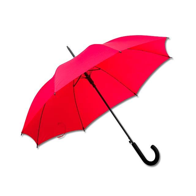 DONALD - polyesterový vystřelovací deštník, 8 panelů - červená