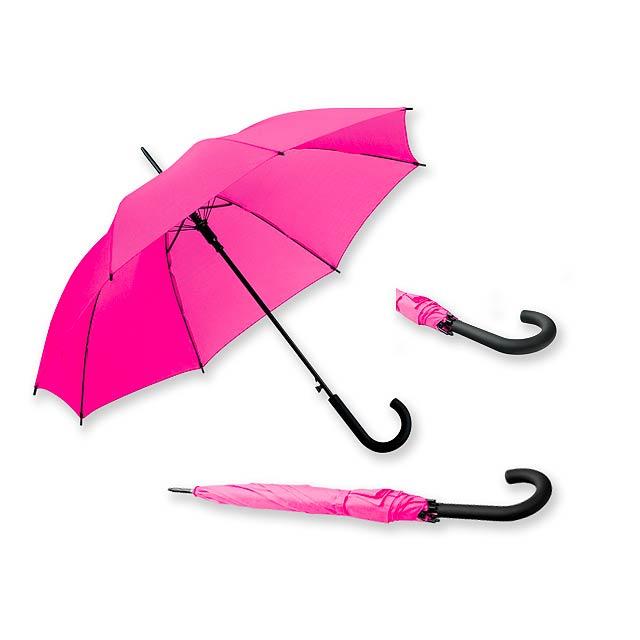 DONALD - polyesterový vystřelovací deštník, 8 panelů - růžová