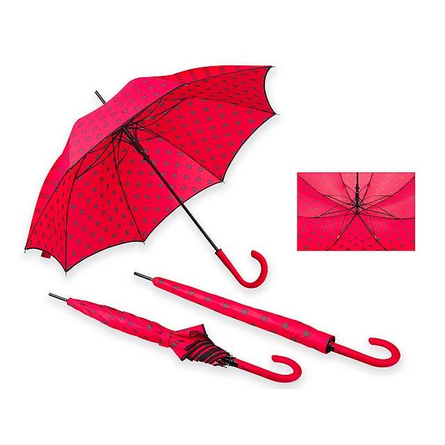 POPPINS - Polyesterový deštník s automatickým otvíráním, obalem a plastovou rukojetí, 8 panelů.      - červená