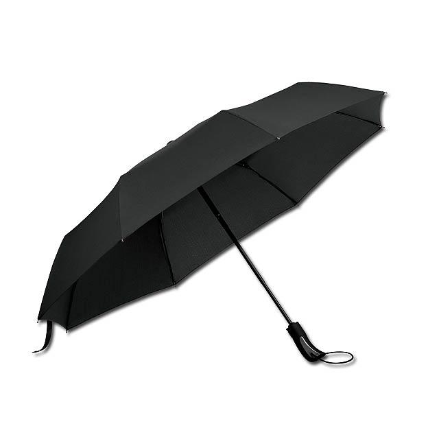 CAMPANELA - polyesterový skládací deštník, open/close, 8 panelů - černá