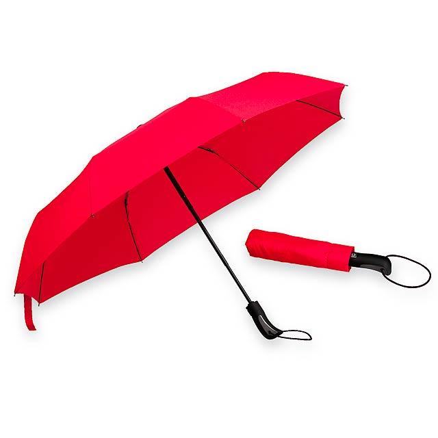 CAMPANELA - polyesterový skládací deštník, open/close, 8 panelů - červená