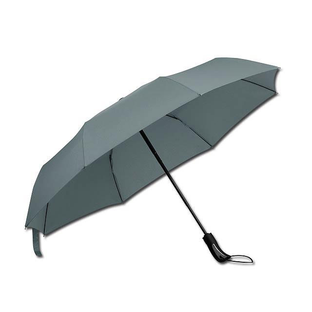 polyesterový skládací deštník, open/close, 8 panelů - šedá - foto