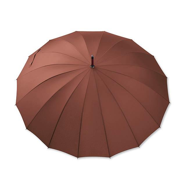polyesterový manuální deštník,16 panelů - hnědá - foto