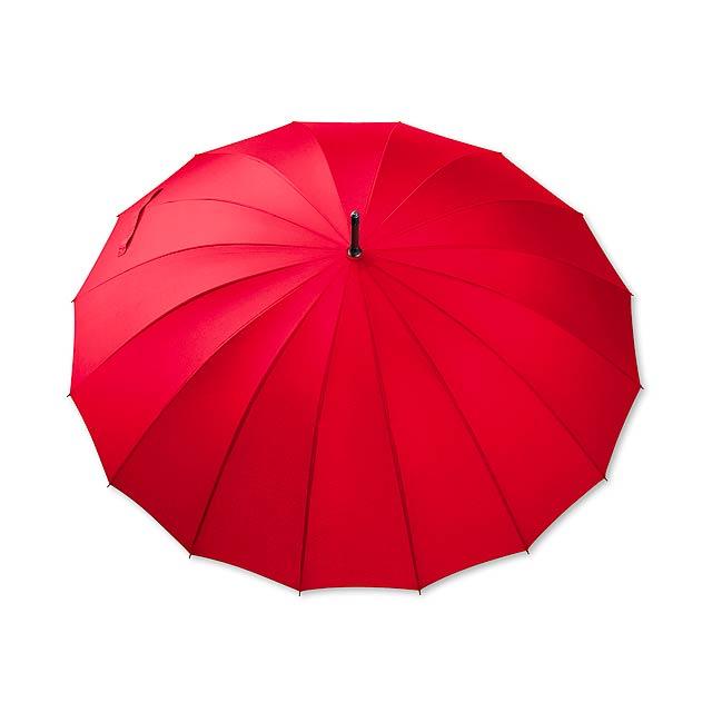 HULK - polyesterový manuální deštník,16 panelů - červená