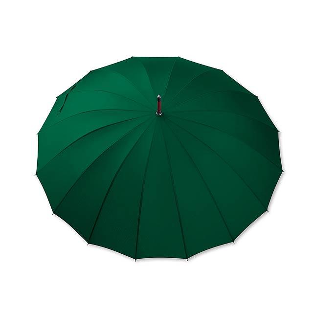 HULK - polyesterový manuální deštník,16 panelů - zelená