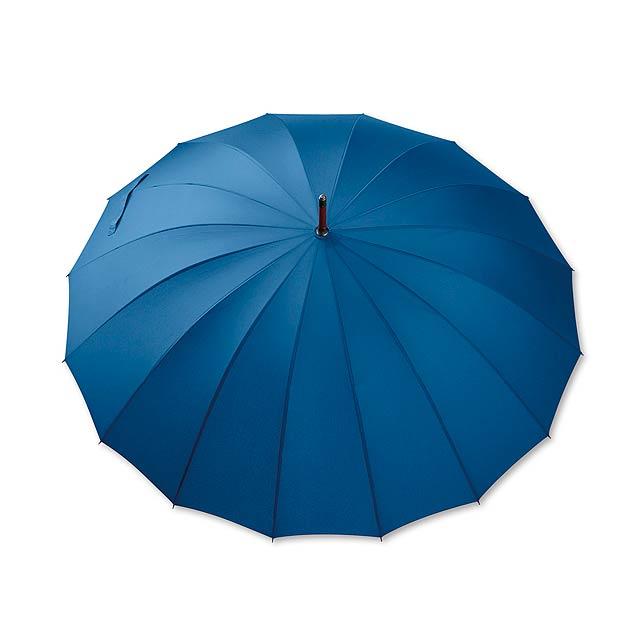 HULK - polyesterový manuální deštník,16 panelů - modrá