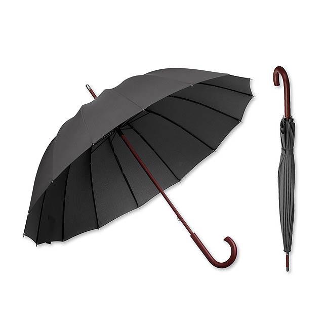 HULK - polyesterový manuální deštník,16 panelů - šedá