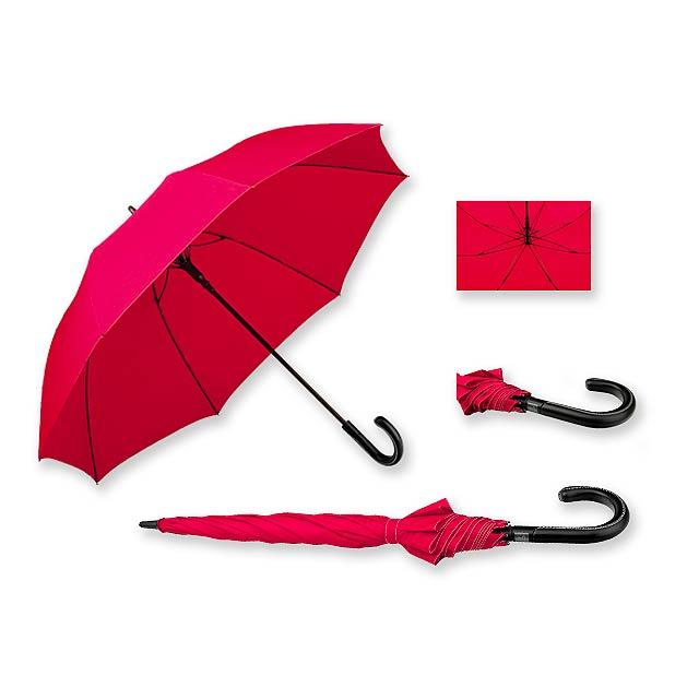SILVAN - polyesterový vystřelovací deštník, 8 panelů, SANTINI - červená