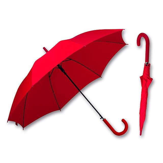 LAVEDA - polyesterový vystřelovací deštník, 8 panelů, SANTINI - červená