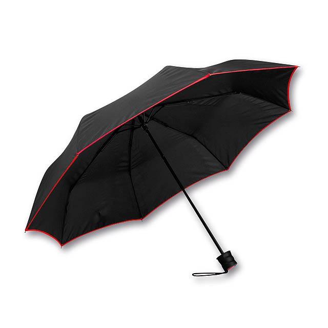 RELLA - polyesterový skládací manuální deštník, 8 panelů - červená