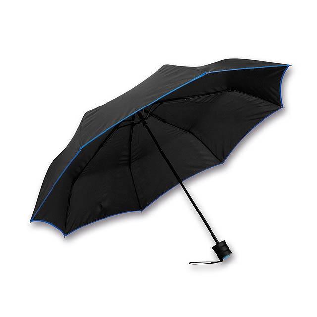 RELLA - polyesterový skládací manuální deštník, 8 panelů - modrá
