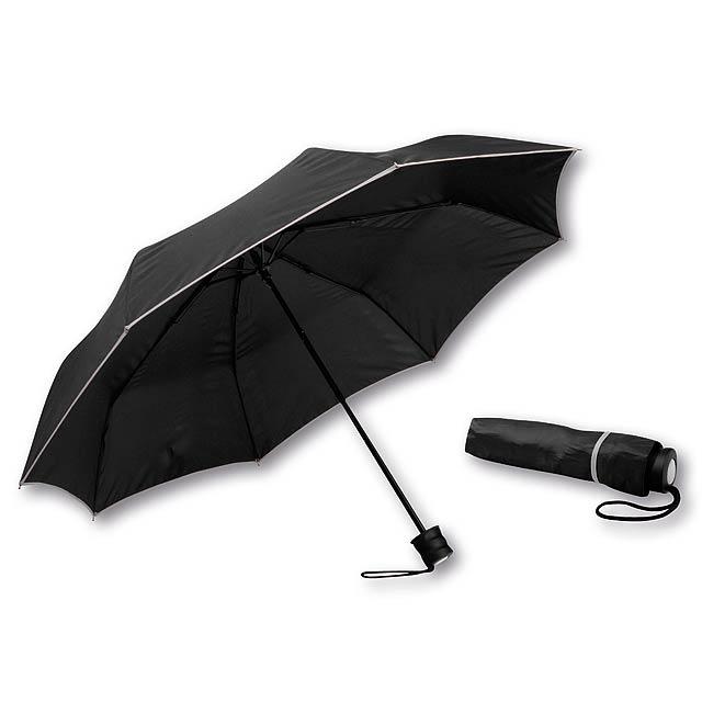 RELLA - polyesterový skládací manuální deštník, 8 panelů - stříbrná