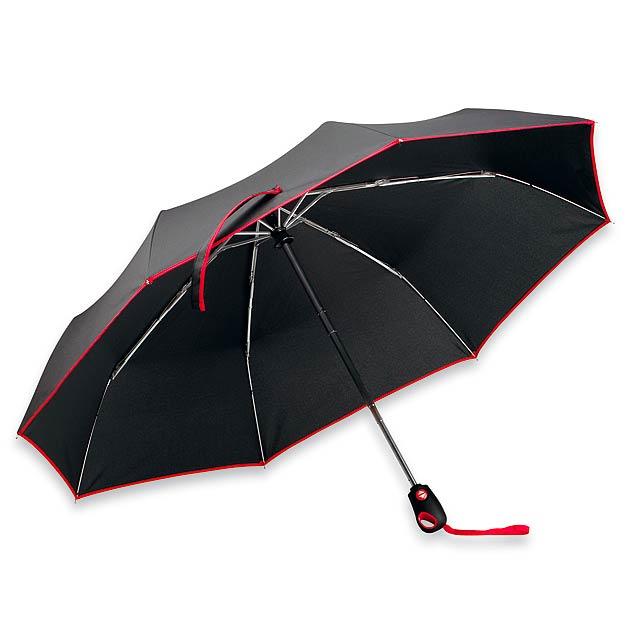 DRIZZLE - polyesterový skládací deštník, open/close, 8 panelů - červená