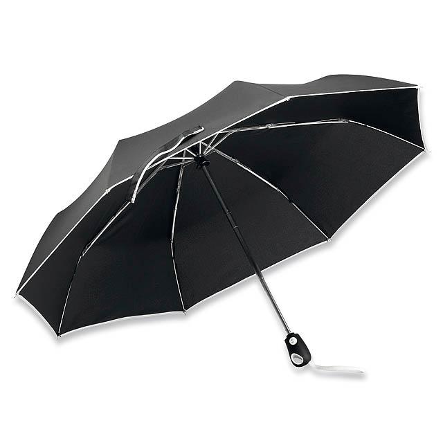 polyesterový skládací deštník, open/close, 8 panelů - bílá - foto