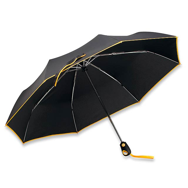 DRIZZLE - polyesterový skládací deštník, open/close, 8 panelů - žlutá