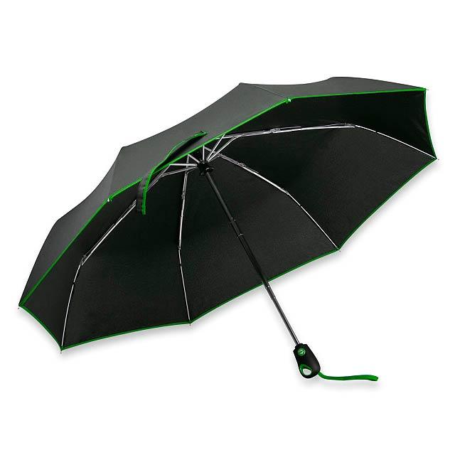 DRIZZLE - polyesterový skládací deštník, open/close, 8 panelů - zelená