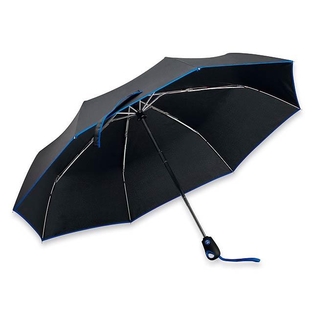 DRIZZLE - polyesterový skládací deštník, open/close, 8 panelů - modrá