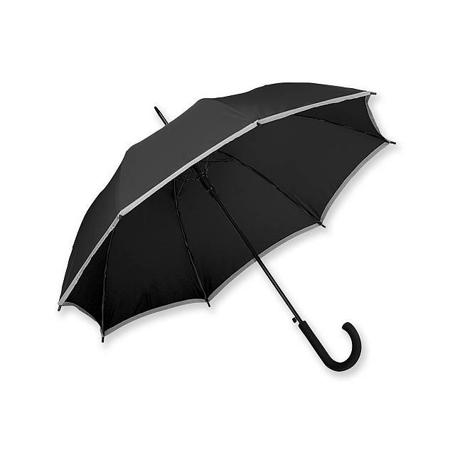 MEGAN - polyesterový vystřelovací deštník s reflexním pruhem, 8 panelů - černá