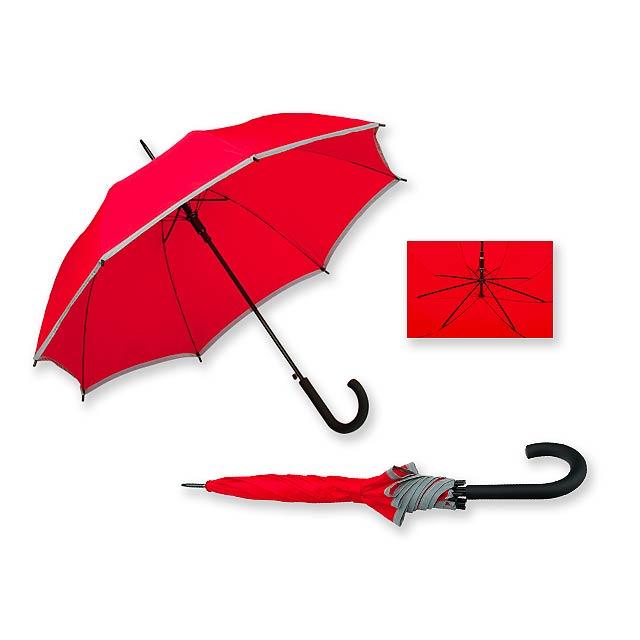 MEGAN - polyesterový vystřelovací deštník s reflexním pruhem, 8 panelů - červená
