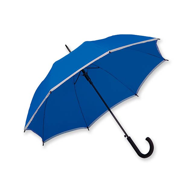 MEGAN - polyesterový vystřelovací deštník s reflexním pruhem, 8 panelů - modrá