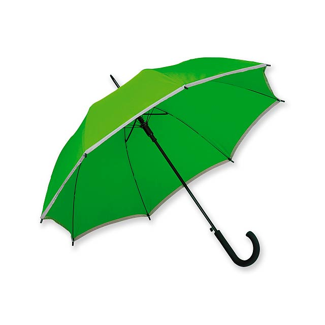 MEGAN - polyesterový vystřelovací deštník s reflexním pruhem, 8 panelů - zelená