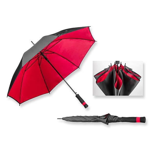 polyesterový vystřelovací deštník s dvojitým potahem, 8 panelů - červená - foto
