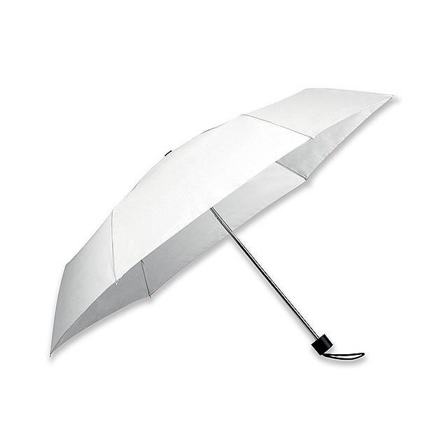 polyesterový skládací manuální deštník, 6 panelů - bílá - foto
